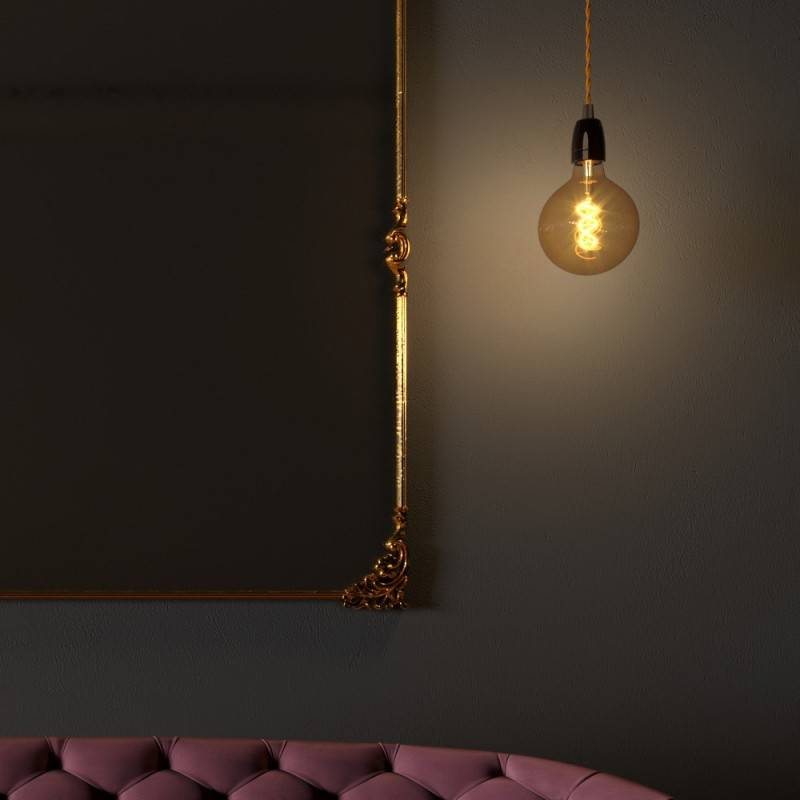 Pendant lamp with twisted textile cable and porcelain details - Made in Italy - Bulb included