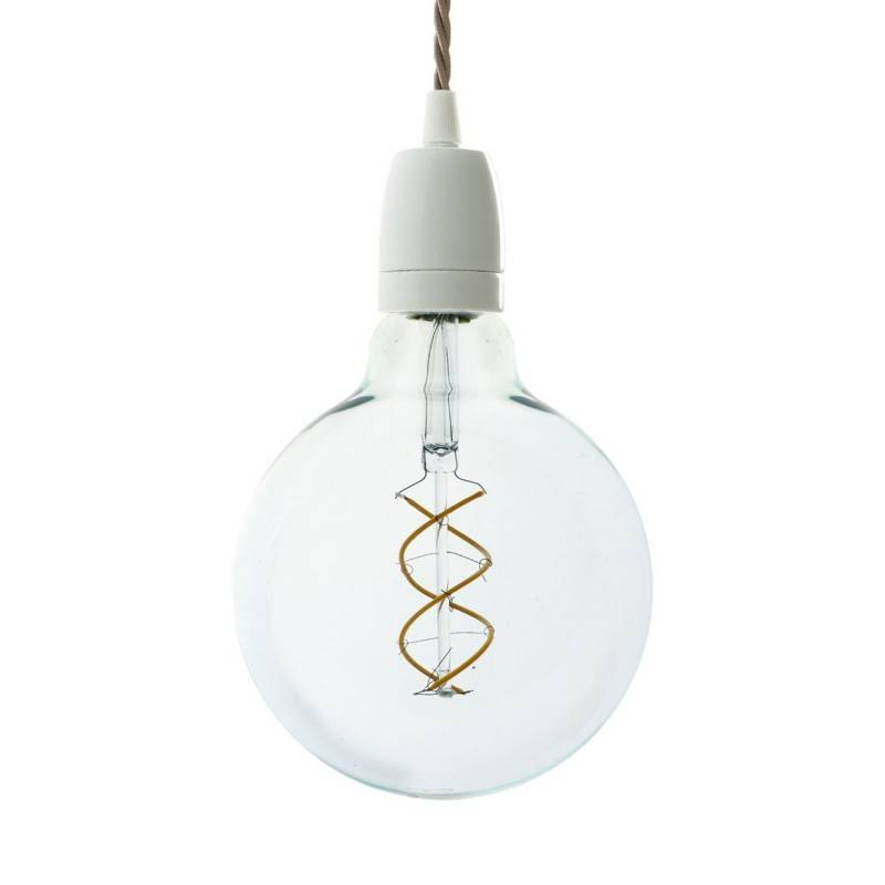 Pendant lamp with twisted textile cable and white porcelain details - Made in Italy - Bulb included