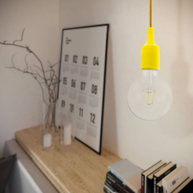 Pendant lamp with textile cable and silicone details - Made in Italy - Bulb included