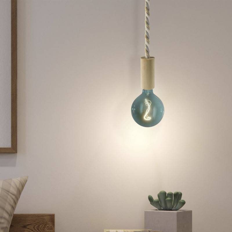 Pendant lamp with XL nautical cord and wooden details - Made in Italy - Bulb included