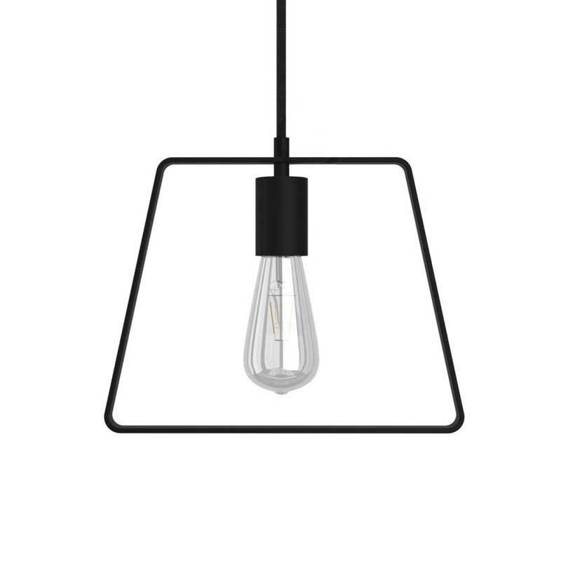 Pendant lamp with textile cable, Duedì Base lampshade and metal details - Made in Italy