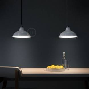 Pendant lamp with textile cable, Bistrot lampshade and metal details - Made in Italy - Bulb included