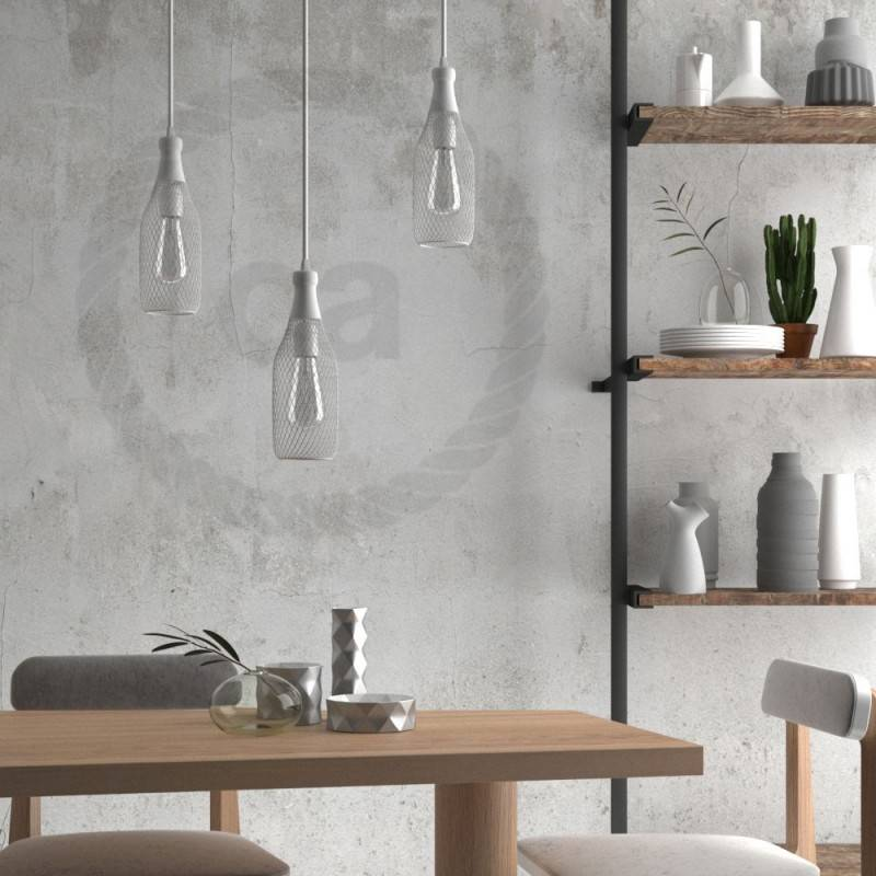 Pendant lamp with textile cable, Magnum bottle lampshade and metal details - Made in Italy