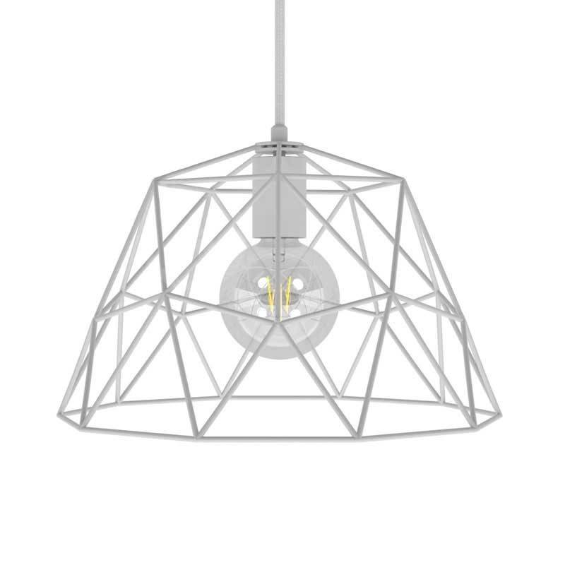 Pendant lamp with textile cable, Dome lampshade and metal details - Made in Italy