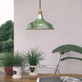 Pendant lamp with textile cable, Harbour lampshade and metal details - Made in Italy - Bulb included