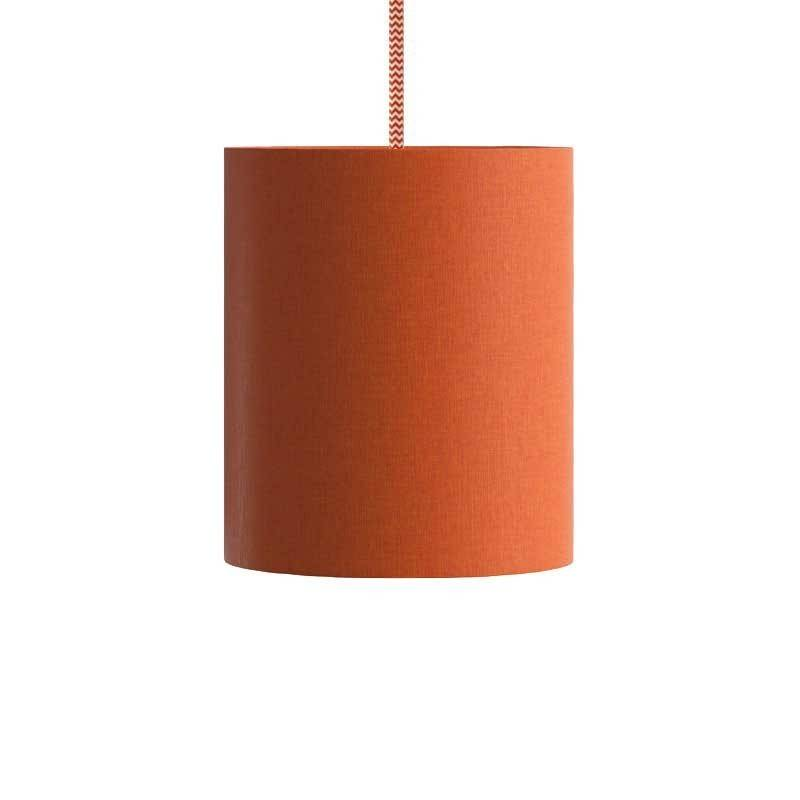 Pendant lamp with textile cable, Cylinder fabric lampshade and metal details Made in Italy