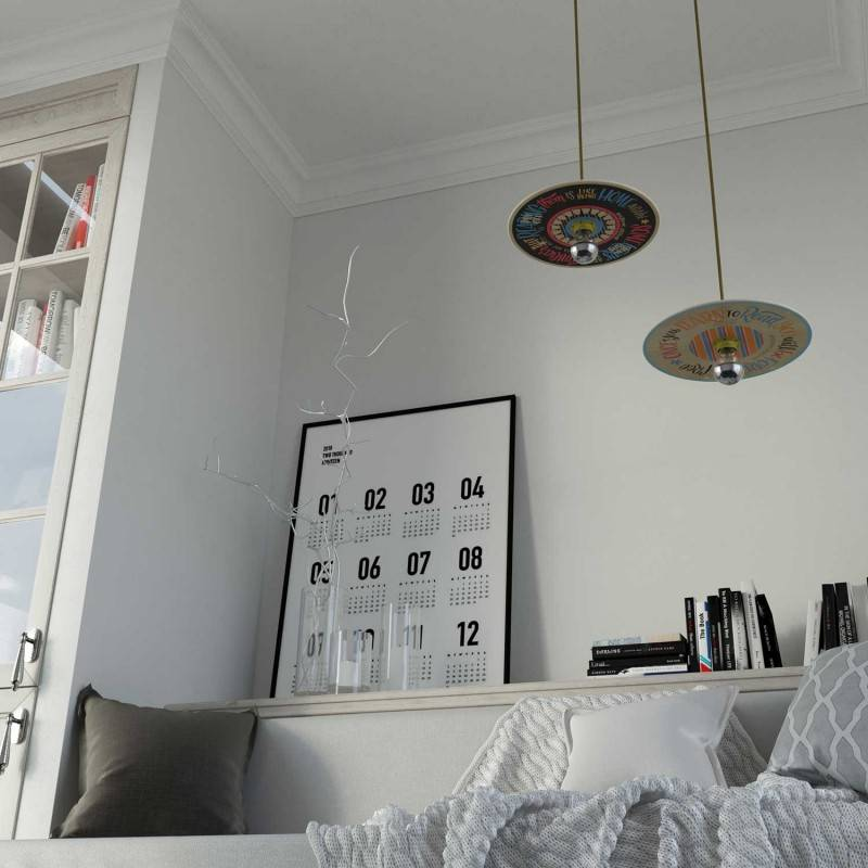 Pendant lamp with textile cable, UFO Pemberly Pond wooden lampshade and metal details - Made in Italy