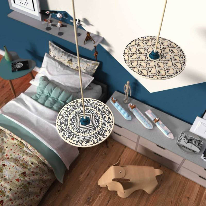 Pendant lamp with textile cable, UFO double-sided wooden lampshade and metal details - Made in Italy