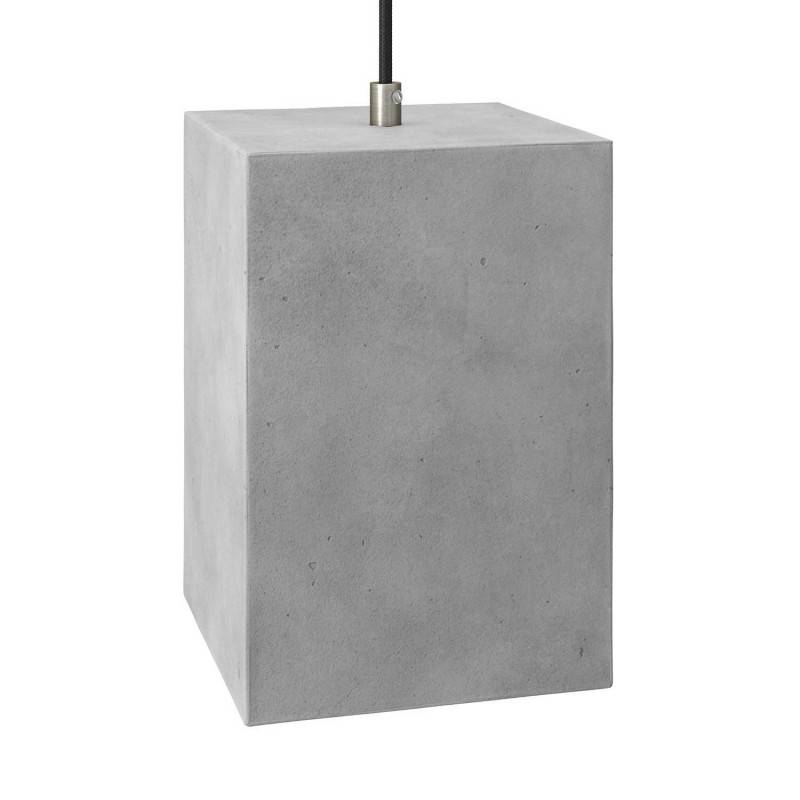 Pendant lamp with textile cable, Cube cement lampshade and metal finishes - Made in Italy