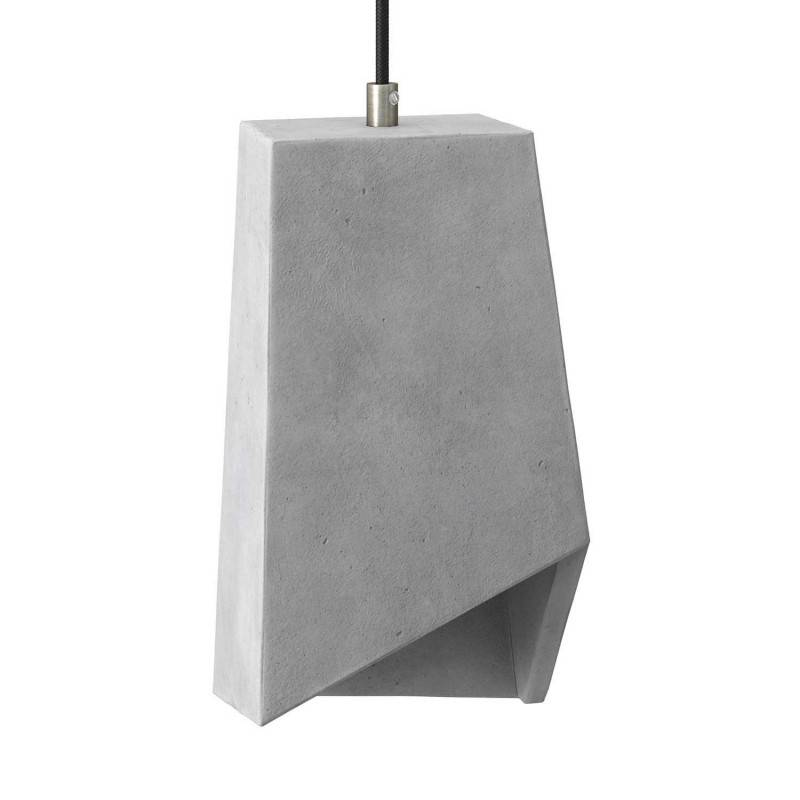 Pendant lamp with textile cable, Prisma cement lampshade and metal finishes - Made in Italy