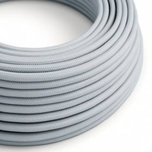 Round Electric Cable covered by Rayon solid color fabric RM30 light blu grey