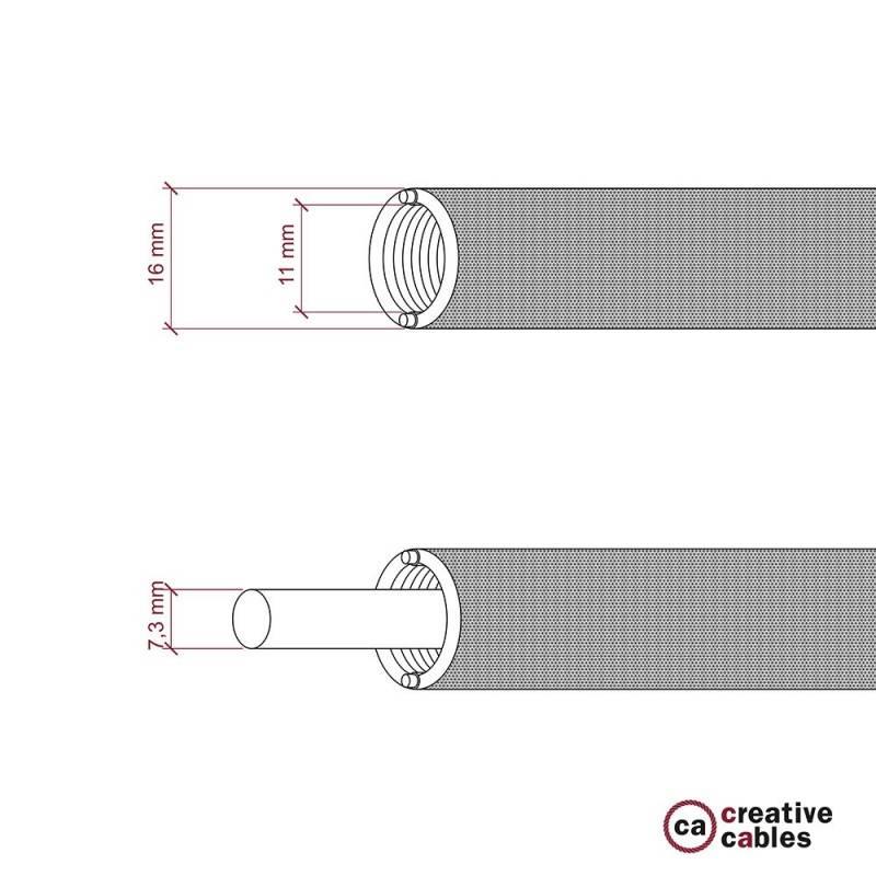 Creative-Tube flexible conduit, Rayon Black RM04 fabric covering, diameter 16 mm
