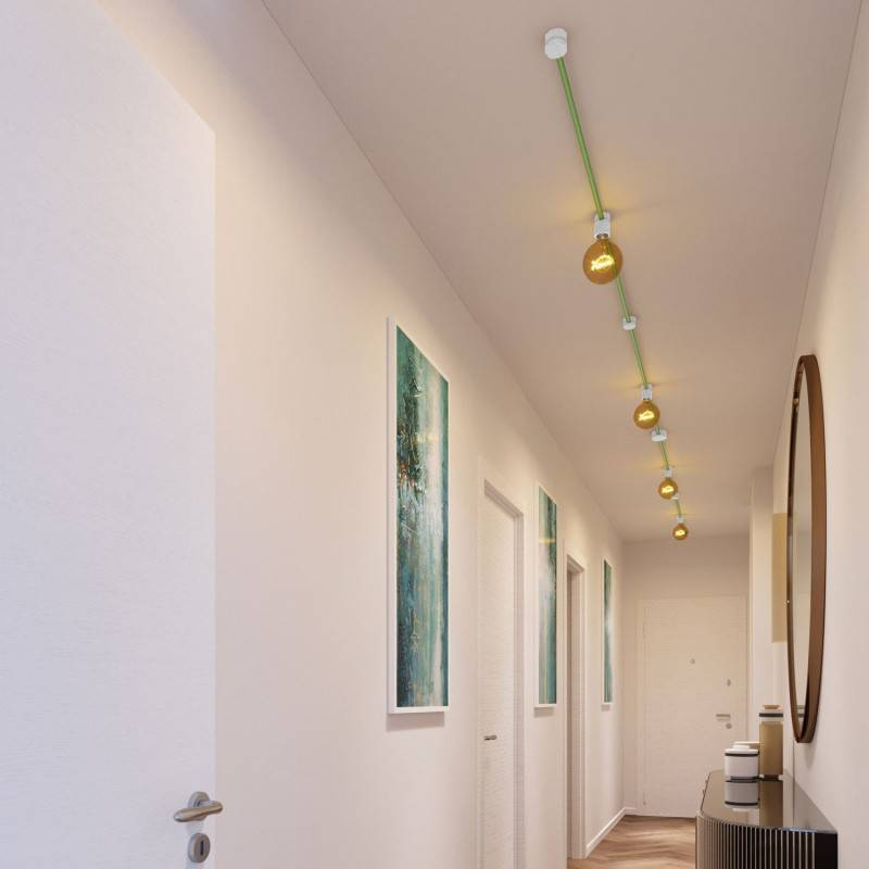 Filé System Symmetric Kit - with 5m string light cable and 9 indoor white varnished wooden components
