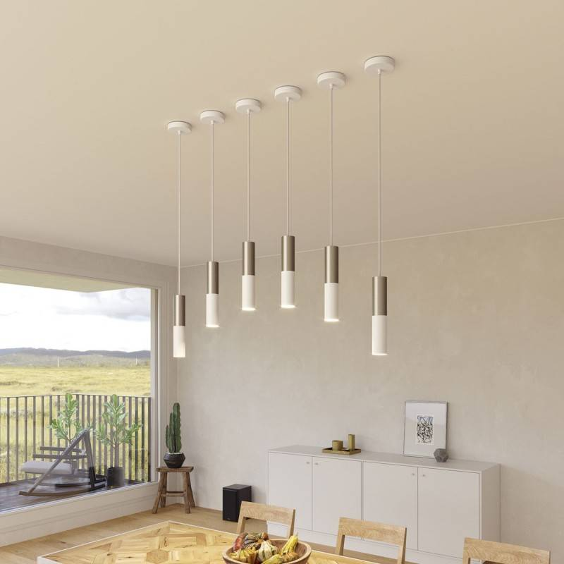 Pendant lamp complete with fabric cable and Tub-E14 double lampshade - Made in Italy