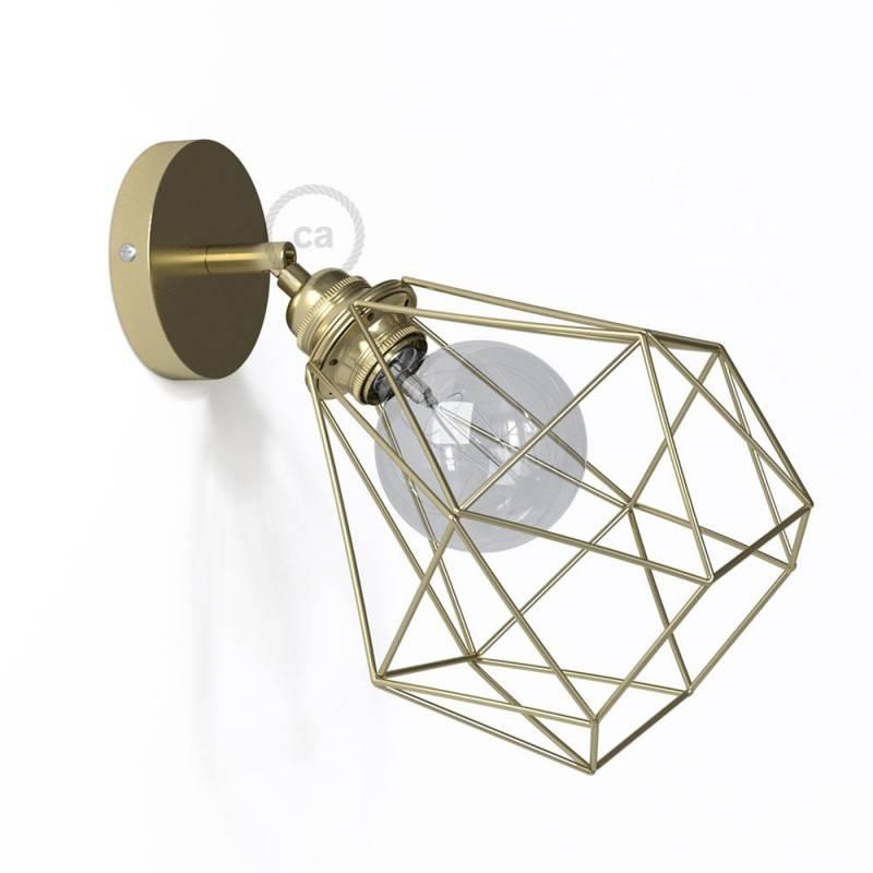 Fermaluce Metal 90°, the adjustable metal wall flush light with Diamond lampshade