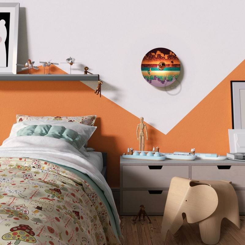 Fermaluce Romantic with double-sided wooden UFO lampshade illustrated by various artists