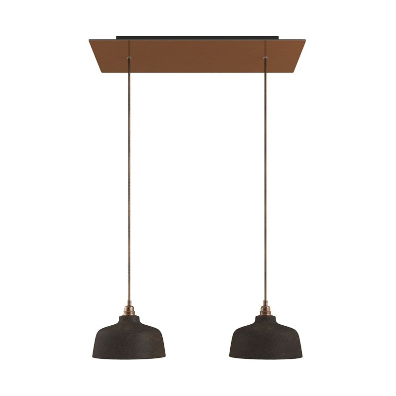 2-light pendant lamp with 675 mm rectangular XXL Rose-One, featuring with fabric cable and Coppa lampshade