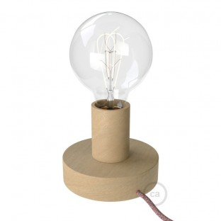 Posaluce Wood S, our table lamp in wood complete with fabric cable, switch and 2-pin plug