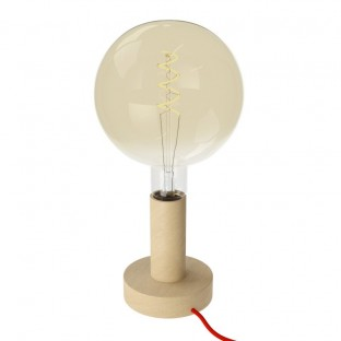 Posaluce Wood M, our table lamp in wood complete with fabric cable, switch and 2-pin plug