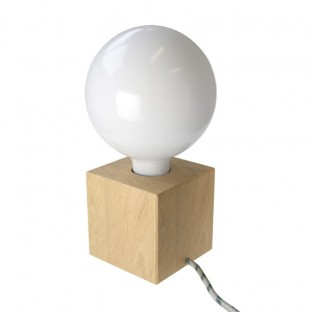 Posaluce Cubetto, our table lamp in wood complete with fabric cable, switch and 2-pin plug