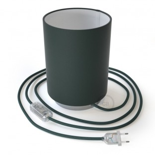 Posaluce in metal with Petrol Blue Cinette Cilindro lampshade, complete with fabric cable, switch and 2-pin plug