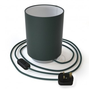 Posaluce in metal with Petrol Blue Cinette Cilindro lampshade, complete with fabric cable, switch and UK plug