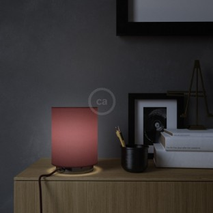 Posaluce in metal with Burgundy Canvas Cilindro lampshade, complete with fabric cable, switch and UK plug