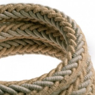 2XL jute and natural grey linen twisted rope cable, 2x0.75 electric cable. 24mm diameter