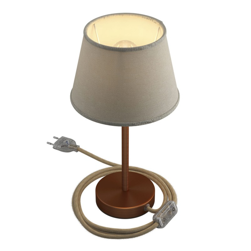 Alzaluce with Impero lampshade, metal table lamp with plug, cable and switch