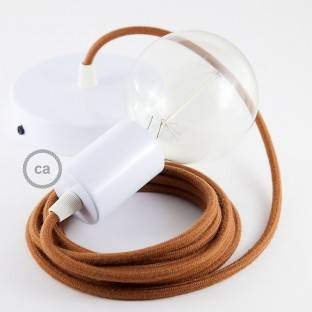 Single Pendant, suspended lamp with Deer Cotton textile cable RC23