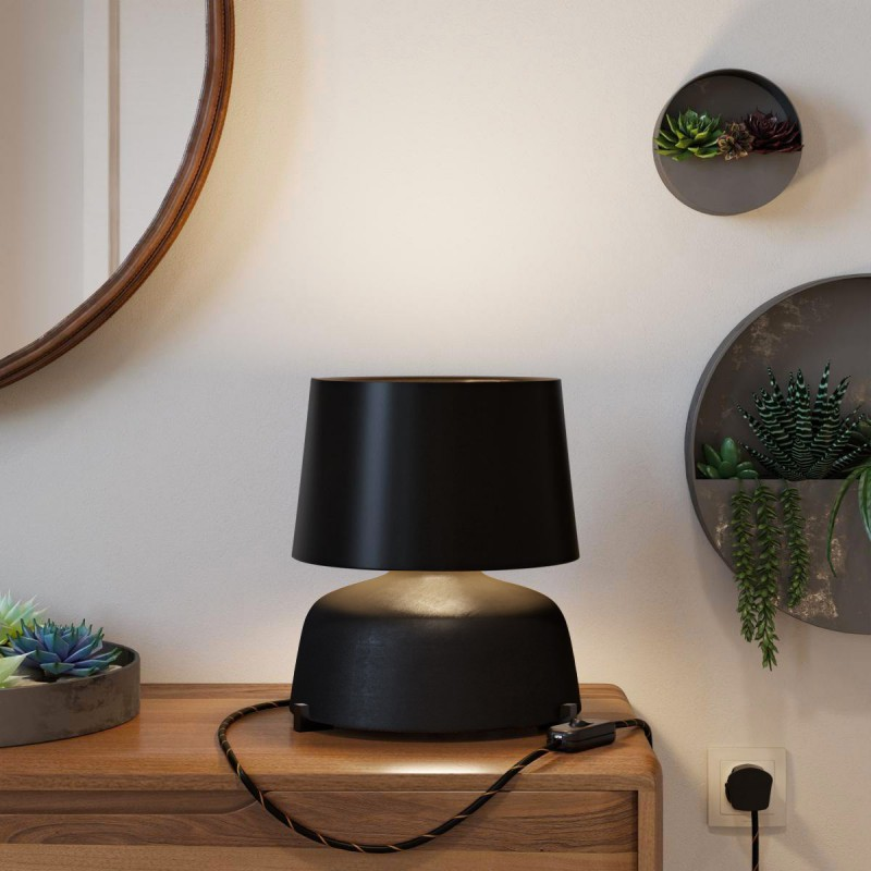 Coppa ceramic table lamp with Athena shade, complete with textile cable, switch and UK plug