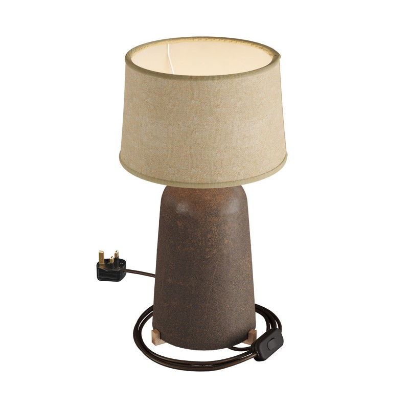 Bottiglia ceramic table lamp with Athena lampshade, complete with textile cable, switch and UK plug