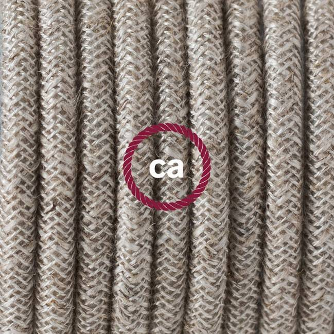 Single Pendant, suspended lamp with Neutral Natural Linen textile cable RN01