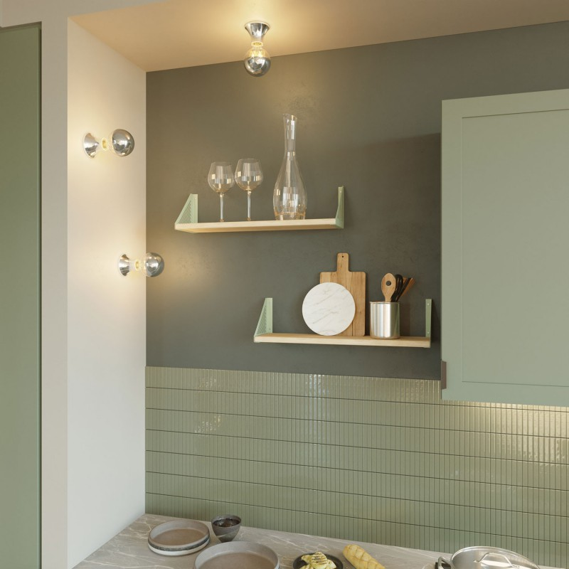 Metallic E27 wall or ceiling lampholder