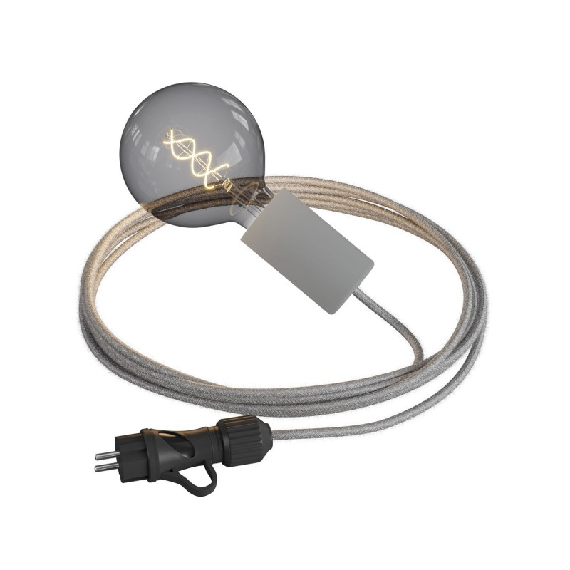 Eiva Snake Elegant, portable outdoor lamp, 5 m textile cable, IP65 waterproof lamp holder and plug