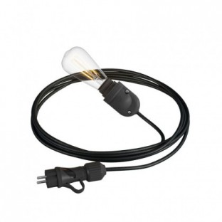 Eiva Snake, portable outdoor lamp, 5 m textile cable, IP65 waterproof lamp holder and plug