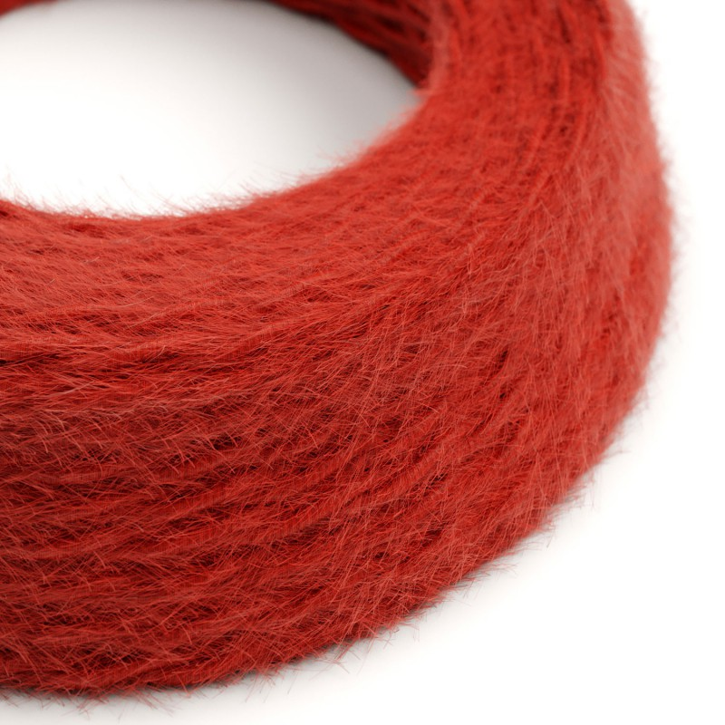 Marlene twisted lighting cable covered in hairy-effect fabric Plain Red TP09