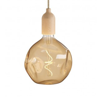 Pendant light Made in Italy complete with fabric cable and wood finishing