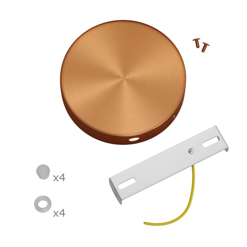 Cylindrical metal 4-side hole ceiling rose kit (junction box)