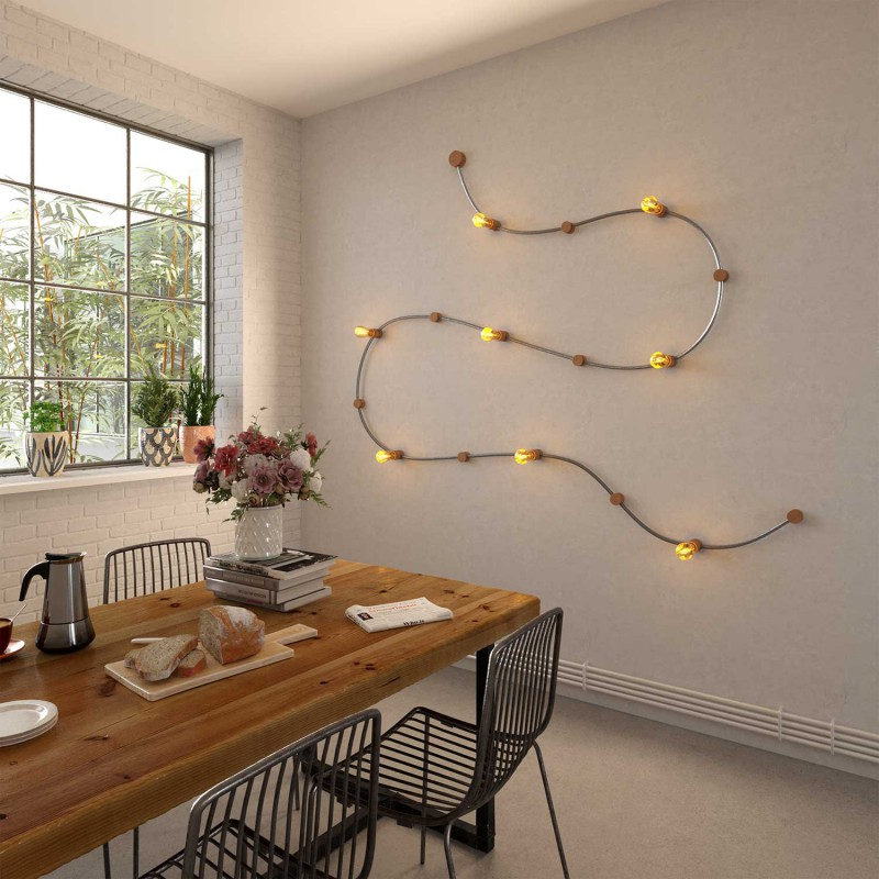 Electric cable for String Lights, covered by Rayon fabric Black CM04