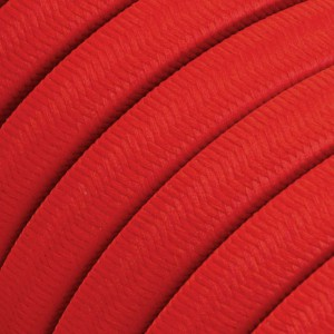 Electric cable for String Lights, covered by Rayon fabric Red CM09