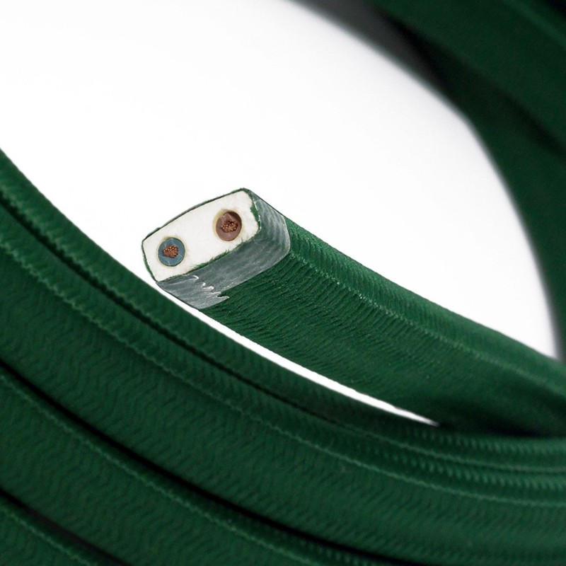 Electric cable for String Lights, covered by Rayon fabric Dark Green CM21