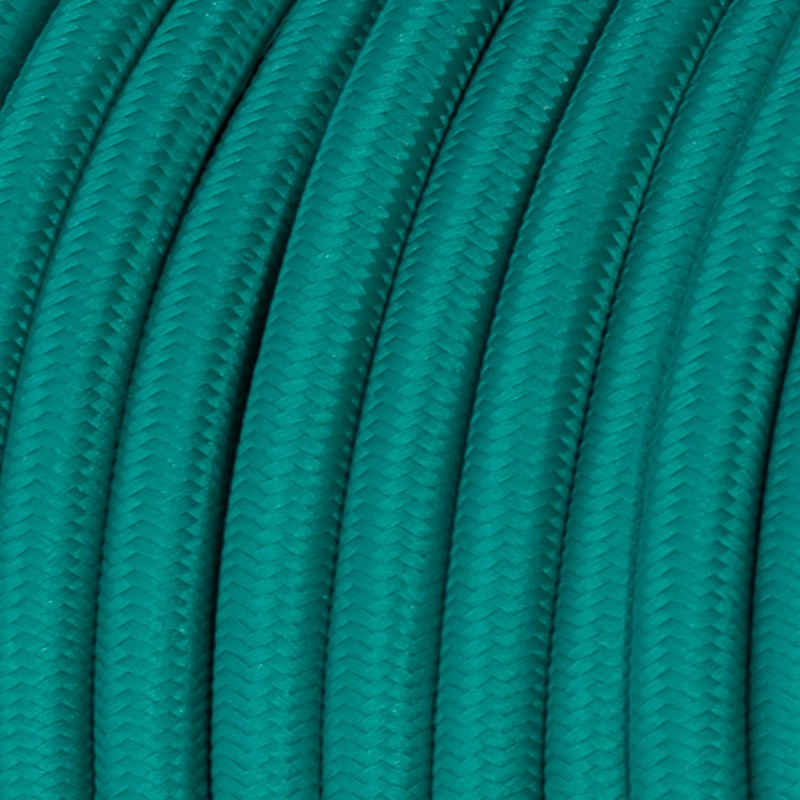 Round Electric Cable covered by Rayon solid color fabric RM71 Turquoise