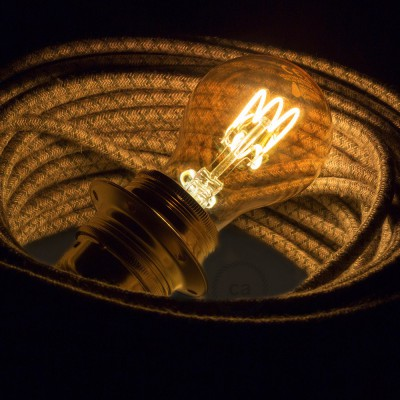 LED Golden Light Bulb - Drop A60 Curved Spiral Filament - 3W E27 Dimmable 2000K