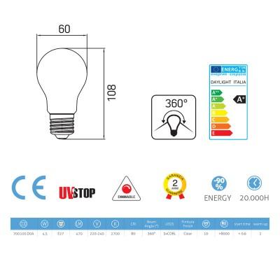 Light bulb filament Led Drop 4.5W E27 Clear Dimmable 2700K