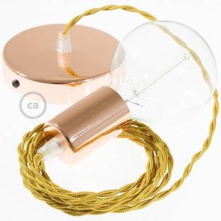 Single Pendant, suspended lamp with Gold Rayon textile cable TM05