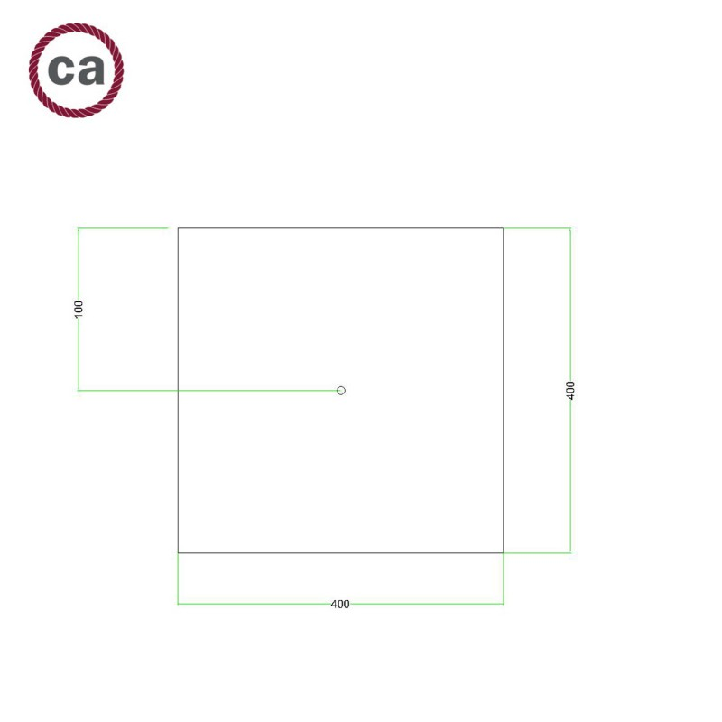 Square XXL Rose-One 1-hole and 4 side holes ceiling rose, 400 mm