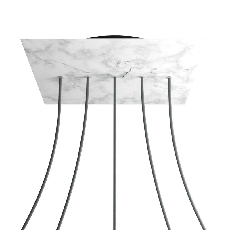 Square XXL Rose-One 5 in-line holes and 4 side holes ceiling rose, 400 mm