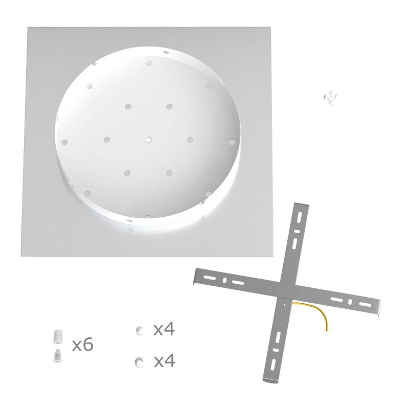 Square XXL Rose-One 6-hole and 4 side holes ceiling rose, 400 mm