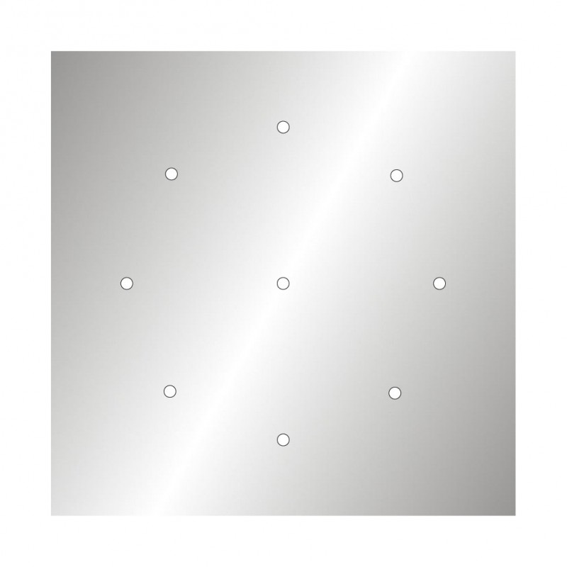Square XXL Rose-One 9-hole and 4 side holes ceiling rose, 400 mm